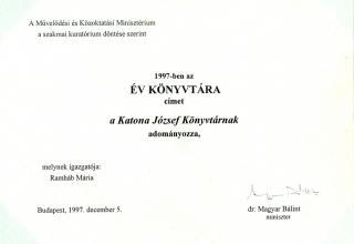 Év Könyvtára cím, 1997. 12. 05.