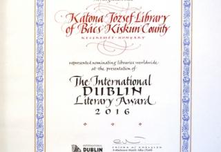Dublin Literary Award oklevél