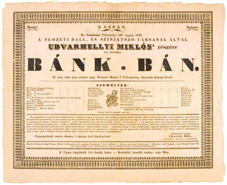 Bánk bán színlap 1833